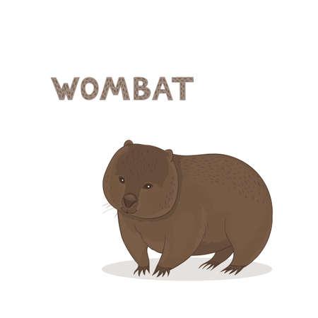 Vector illustration, a cartoon Australian wombat, isolated on a white background. Animal alphabet.