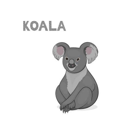 Vector illustration, a cartoon Australian coala, isolated on a white background. Animal alphabet.