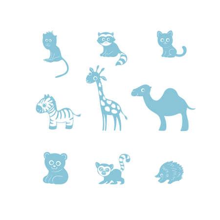 Vector illustration, set of cartoon cute funny animal silhouettes. Monkey, raccoon, cat, zebra, giraffe, camel, bear, lemur, echidna. Nursery pictures.