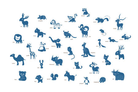 Vector set of cartoon animals isolated on awhite background. Armadillo, bear, camel, deer, elephant, fox, giraffe, hedgehog, impala, jaguar, kangaroo, lemur