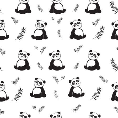Vector seamless pattern with black panda silhouettes and eucalyptus leaves.