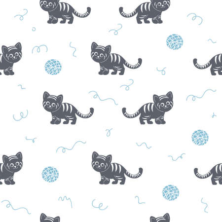 Vector seamless pattern with cute striped cat silhouettes.
