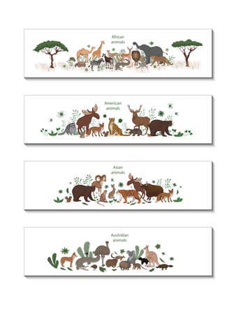 Vector set of banners with African, American, Asian and Australian animals. Okapi, impala, lion, chameleon, zebra, lemur jaguar armadillo deer raccoon fox echidna squirrel hare koala crocodile elk