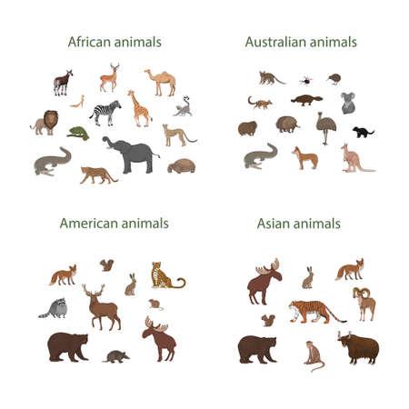 Vector set of cartoon African, American, Asian and Australian animals. Okapi, impala, lion, chameleon, zebra, lemur jaguar armadillo deer raccoon fox echidna squirrel hare koala crocodile elk