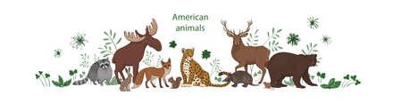 Vector banner, cartoon cute American animals with leaves and flowers. Raccoon, fox, jaguar, squirrel, elk bear armadillo hare deer vole 向量圖像