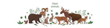 Vector banner, cartoon cute Asian animals with leaves and flowers. Hare, fox, squirrel, elk bear urial tiger yak macaque