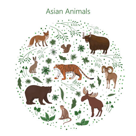 Vector set of cartoon cute Asian animals with leaves flowers and spots in a circle. Hare, fox, squirrel, elk bear urial tiger yak macaque
