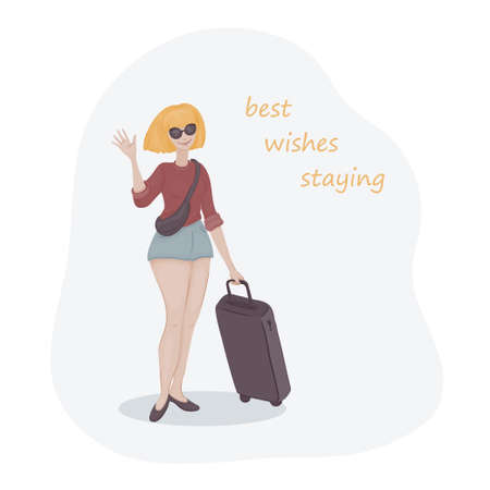 Young woman with yellow hair in a pair of sunglasses with a luggage bag. Vacation girl.