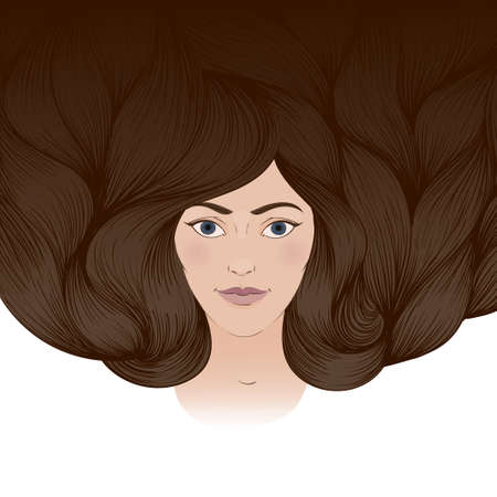 Vector illustration of a beautiful girl with a long brown crimpy hair. A greeting card, an invitation card Illustration