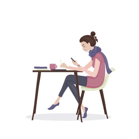 Young woman with brown hair in a pink clothes and purple scarf sitting at the table with a cup of tea and books with telephone in her hand. A student girl. Vector illustration. Vettoriali