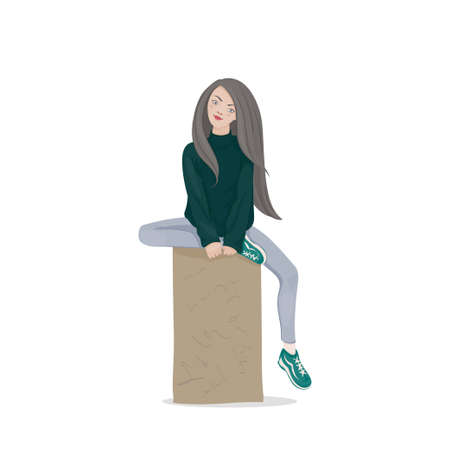 A young woman with long hair in a dark green sweater and sports shoes sitting on a spur stone. A student girl. Vector illustration.