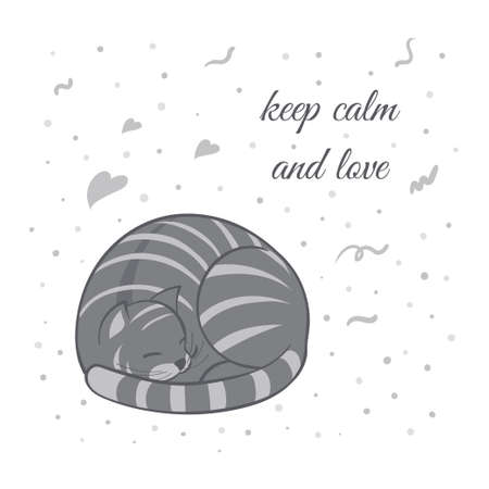 Vector illustration, a cartoon cute sleeping gray cat on a white background with hearts and dots. Text keep calm and love.