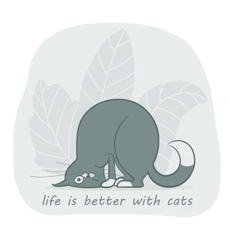 Vector illustration, a cartoon cute gray cat funny twisted on the gray background with leaves.