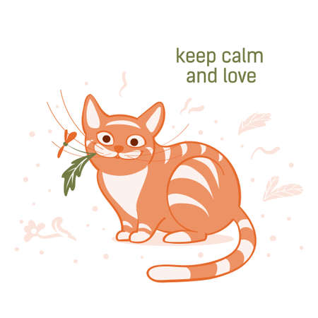 Vector illustration, a cartoon cute sitting red cat with a flower in its mouth on a white background with dots and plants.