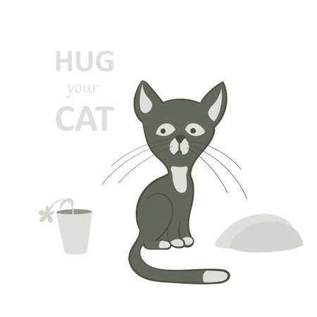 Vector illustration, a cartoon cute sad sitting gray cat on a white background with flowerpot.