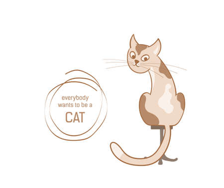 Vector illustration, a cartoon cute spotted cat sitting on a chair isolated on the white background.