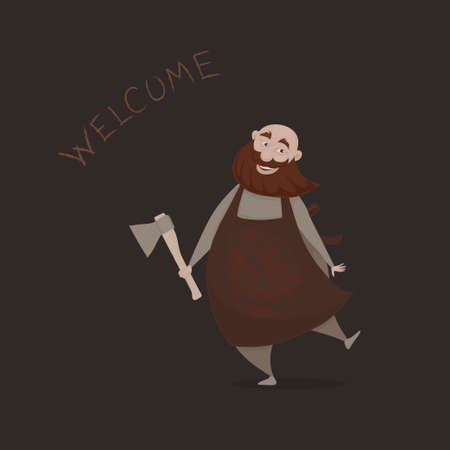 Vector illustration, a cartoon funny merry slightly mad bold butcher with a red beard and an ax on the dark background. A cartoon character.