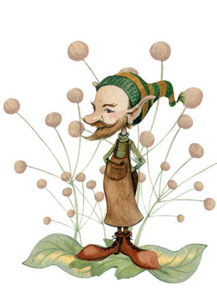A mixed hand-drawn watercolor illustration of a cute little fairy gnome with a sharp ears in a shoemakers apron and a funny stripped cap standing among leaves and flowers. 免版税图像 - 157988815