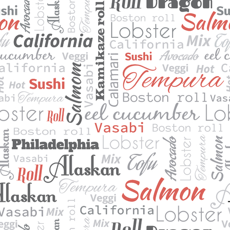 Seamless background with sushi and roll tags for design. Illustration