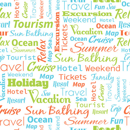 voyage: Travel or tourism text word  seamless pattern, metaphor to vacation, family, summer, voyage, transport, fun, leisure, worldwide cruise