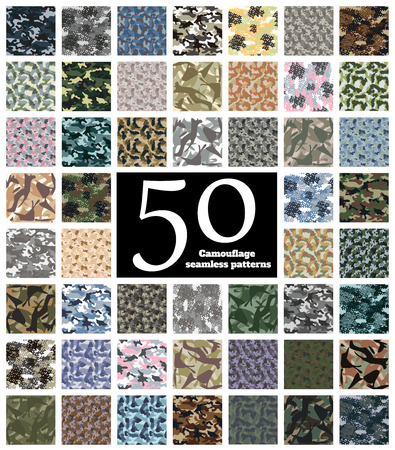 Set of Seamless Camouflage Pattern Vector Vectores