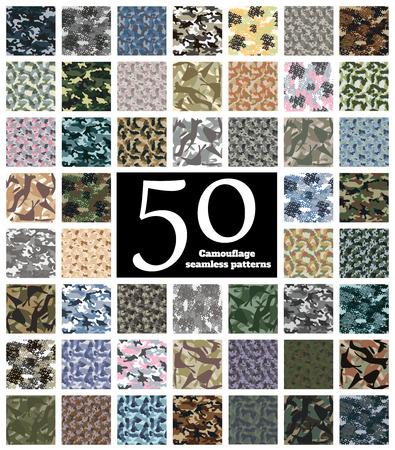 Set of Seamless Camouflage Pattern Vector Illustration