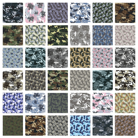 to conceal: Seamless set of camouflage pattern vector