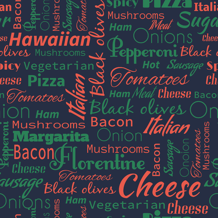 Pizza seamless pattern. Useful for restaurant identity, packaging, menu design and interior decorating. 일러스트