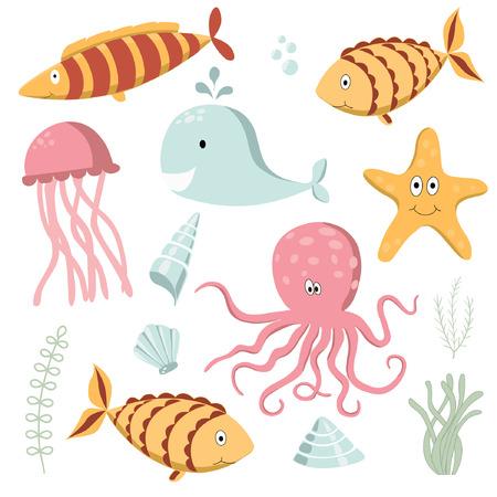 sea animals: Vector illustration of Sea Animals Collection