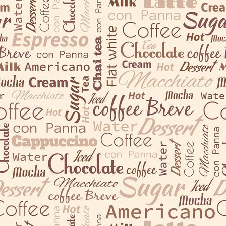 keywords backdrop: Seamless background with coffee tags for fast food design.