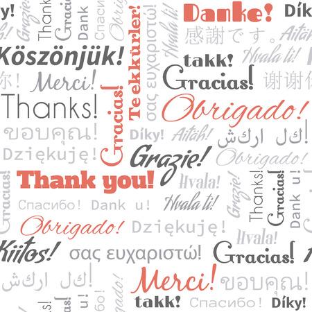 idiomas: Gracias de palabras diferentes idiomas, las etiquetas. Patrón sin fisuras Vectores