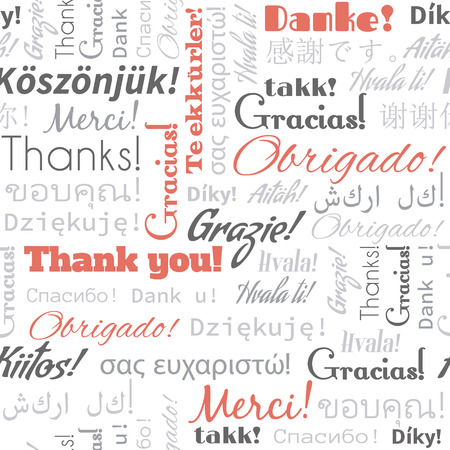 thank you card: Thank you in different languages words, tags. Seamless pattern
