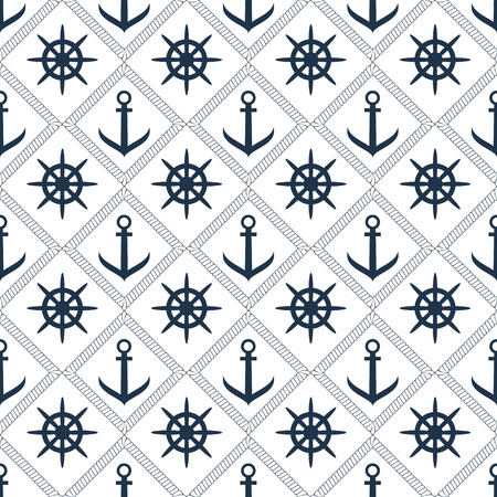 Seamless vector anchor,steering wheel and rope pattern background Stock Illustratie