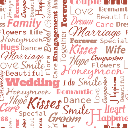 socially: Wedding or Honeymoon text word  seamless pattern, metaphor to family, wife, kiss, bride, groom, engagement.
