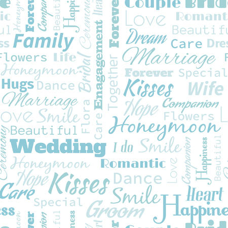 marrying: Wedding or Honeymoon text word  seamless pattern, metaphor to family, wife, kiss, bride, groom, engagement