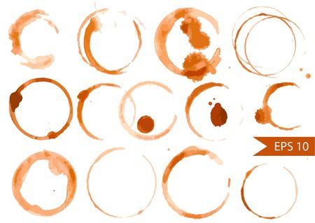 Vector Set of Coffee and Tea Stains Иллюстрация