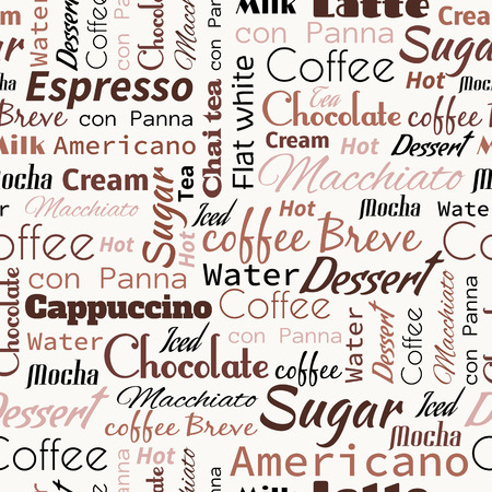 mocca: Seamless background with coffee tags for fast food design.