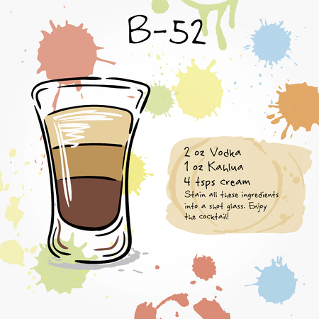 white russian: B-52. Hand drawn illustration of cocktail, including recipes and ingredients. Vector collection.