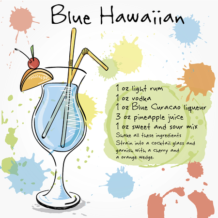 alcohol drinks: Blue Hawaiian. Hand drawn illustration of cocktail, including recipes and ingredients. Vector collection.