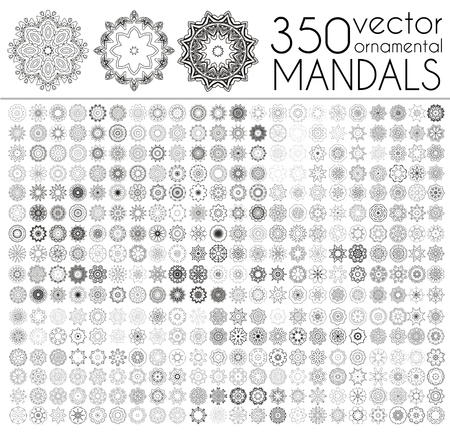 Geometric circular ornament set. Isolated vector mandalas. Perfect set for any kind of design,   wedding, birthday and other holiday, kaleidoscope, medallion, yoga, india, arabic Stock Illustratie