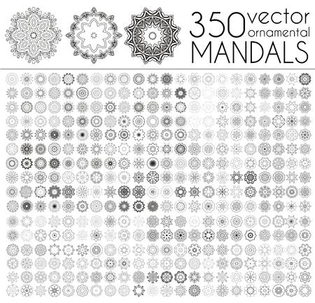 Geometric circular ornament set. Isolated vector mandalas. Perfect set for any kind of design,   wedding, birthday and other holiday, kaleidoscope, medallion, yoga, india, arabic Illustration