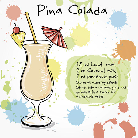 pina colada: Pina Colada. Hand drawn illustration of cocktail, including recipes and ingredients. Vector collection.