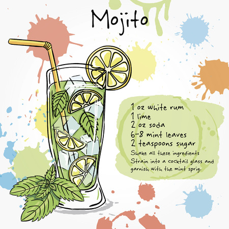 Mojito. Hand drawn illustration of cocktail, including recipes and ingredients. Vector collection. Vettoriali