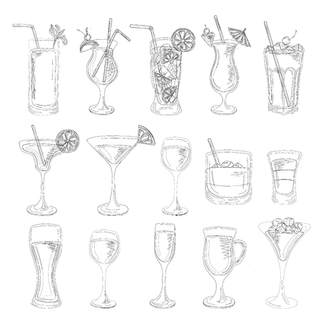 blue lagoon: Cocktails collection. Vector Set of Sketch Cocktails and Alcohol Drinks. Margarita, Blue Lagoon, Mojito, Cosmopolitan, Pina Colada, Bloody Mary, Mulled wine, Iceberg, Long island, White Russian.