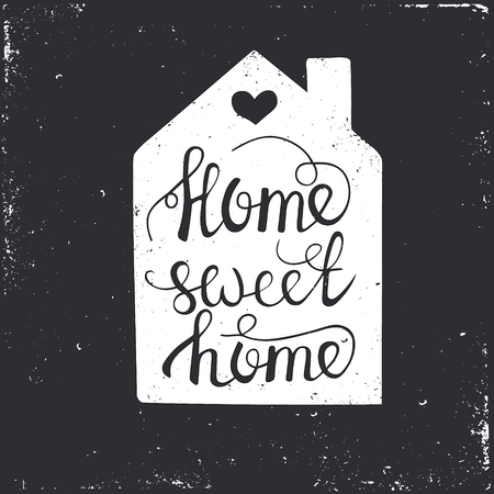 Dibujado a mano cartel de la tipografía. Conceptual frase manuscrita Home Sweet Home.T camisa de la mano con letras de diseño caligráfico. Tipografía vector inspirada.