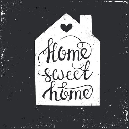 Dibujado a mano cartel de la tipografía. Conceptual frase manuscrita Home Sweet Home.T camisa de la mano con letras de diseño caligráfico. Tipografía vector inspirada. Foto de archivo - 46164671