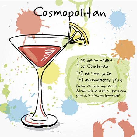 cosmopolitan: Cosmopolitan. Hand drawn illustration of cocktail, including recipes and ingredients. Vector collection.