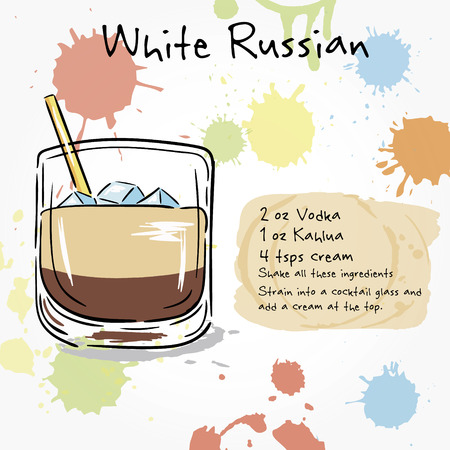 white russian: White Russian. Hand drawn illustration of cocktail, including recipes and ingredients. Vector collection.