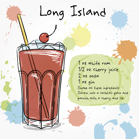 cocktail drinks: Long island. Hand drawn illustration of cocktail, including recipes and ingredients. Vector collection.