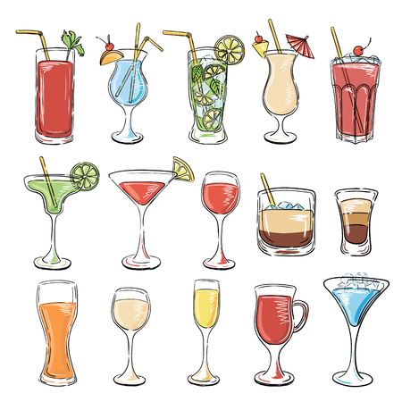 Cocktails collection. Vector Set of Sketch Cocktails and Alcohol Drinks. Margarita, Blue Lagoon, Mojito, Cosmopolitan, Pina Colada, Bloody Mary, Mulled wine, Iceberg, Long island, White Russian.